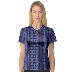 Wrinkly Batik Pattern   Blue Black Women s V Neck Sport Mesh Tee by EDDArt