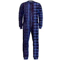 Wrinkly Batik Pattern   Blue Black Onepiece Jumpsuit (men)  by EDDArt
