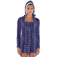 Wrinkly Batik Pattern   Blue Black Women s Long Sleeve Hooded T Shirt by EDDArt