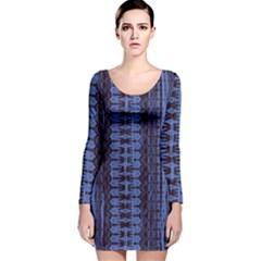 Wrinkly Batik Pattern   Blue Black Long Sleeve Velvet Bodycon Dress by EDDArt