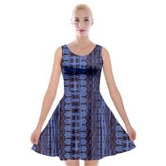 Wrinkly Batik Pattern   Blue Black Velvet Skater Dress by EDDArt