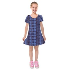 Wrinkly Batik Pattern   Blue Black Kids  Short Sleeve Velvet Dress by EDDArt