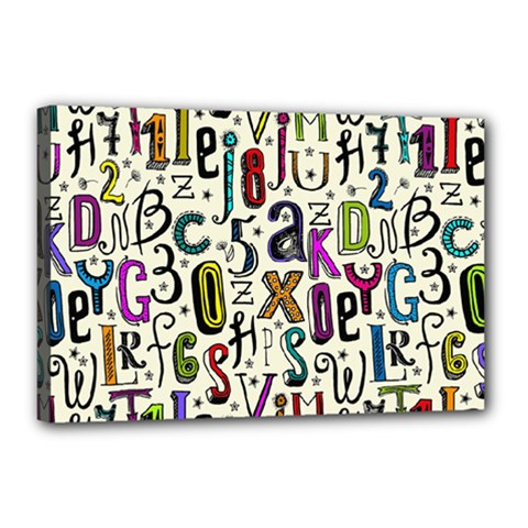Colorful Retro Style Letters Numbers Stars Canvas 18  X 12  by EDDArt