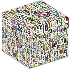 Colorful Retro Style Letters Numbers Stars Storage Stool 12   by EDDArt