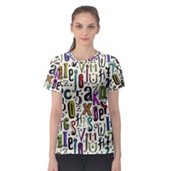 Colorful Retro Style Letters Numbers Stars Women s Sport Mesh Tee by EDDArt