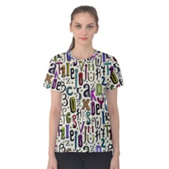 Colorful Retro Style Letters Numbers Stars Women s Cotton Tee by EDDArt