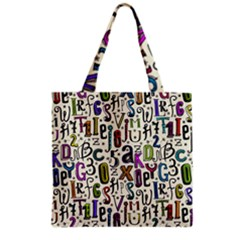 Colorful Retro Style Letters Numbers Stars Grocery Tote Bag by EDDArt