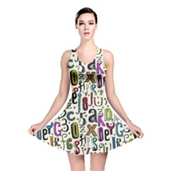 Colorful Retro Style Letters Numbers Stars Reversible Skater Dress by EDDArt