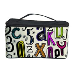 Colorful Retro Style Letters Numbers Stars Cosmetic Storage Case by EDDArt