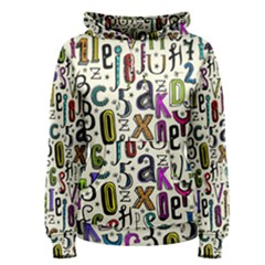Colorful Retro Style Letters Numbers Stars Women s Pullover Hoodie by EDDArt