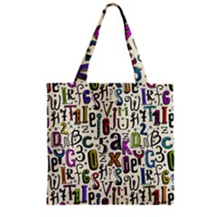 Colorful Retro Style Letters Numbers Stars Zipper Grocery Tote Bag by EDDArt