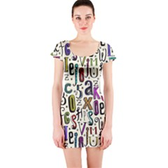 Colorful Retro Style Letters Numbers Stars Short Sleeve Bodycon Dress by EDDArt