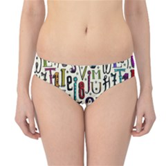 Colorful Retro Style Letters Numbers Stars Hipster Bikini Bottoms by EDDArt