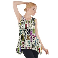 Colorful Retro Style Letters Numbers Stars Side Drop Tank Tunic by EDDArt