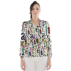Colorful Retro Style Letters Numbers Stars Wind Breaker (women) by EDDArt