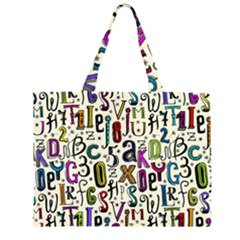 Colorful Retro Style Letters Numbers Stars Zipper Large Tote Bag by EDDArt