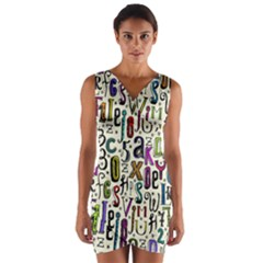 Colorful Retro Style Letters Numbers Stars Wrap Front Bodycon Dress by EDDArt