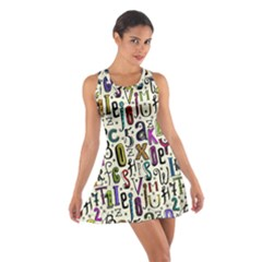 Colorful Retro Style Letters Numbers Stars Cotton Racerback Dress by EDDArt