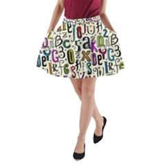 Colorful Retro Style Letters Numbers Stars A Line Pocket Skirt by EDDArt