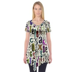 Colorful Retro Style Letters Numbers Stars Short Sleeve Tunic  by EDDArt