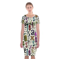 Colorful Retro Style Letters Numbers Stars Classic Short Sleeve Midi Dress by EDDArt