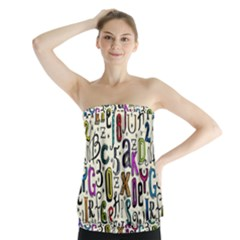 Colorful Retro Style Letters Numbers Stars Strapless Top by EDDArt