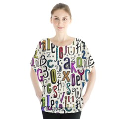 Colorful Retro Style Letters Numbers Stars Blouse by EDDArt
