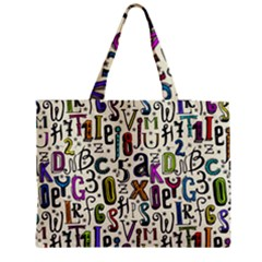 Colorful Retro Style Letters Numbers Stars Medium Tote Bag by EDDArt