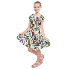 Colorful Retro Style Letters Numbers Stars Kids  Short Sleeve Dress by EDDArt