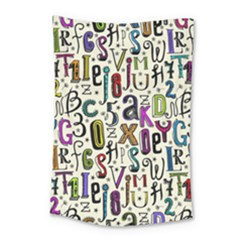 Colorful Retro Style Letters Numbers Stars Small Tapestry by EDDArt