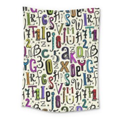 Colorful Retro Style Letters Numbers Stars Medium Tapestry by EDDArt