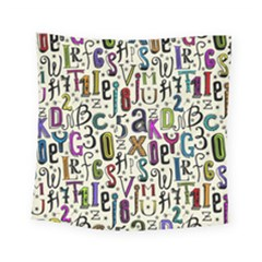 Colorful Retro Style Letters Numbers Stars Square Tapestry (small) by EDDArt