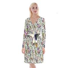 Colorful Retro Style Letters Numbers Stars Long Sleeve Velvet Front Wrap Dress by EDDArt
