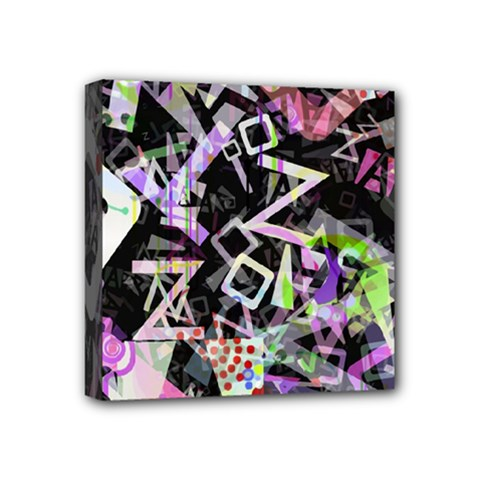 Chaos With Letters Black Multicolored Mini Canvas 4  X 4  by EDDArt