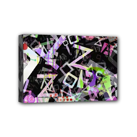 Chaos With Letters Black Multicolored Mini Canvas 6  X 4  by EDDArt