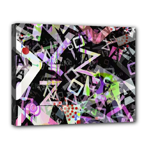 Chaos With Letters Black Multicolored Canvas 14  X 11  by EDDArt