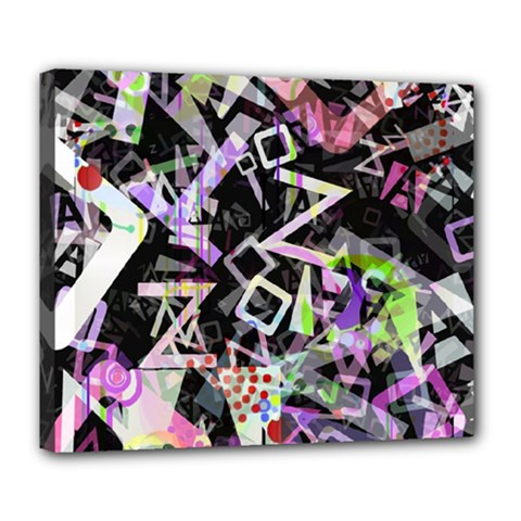 Chaos With Letters Black Multicolored Deluxe Canvas 24  X 20   by EDDArt