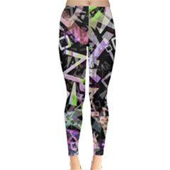Chaos With Letters Black Multicolored Leggings  by EDDArt