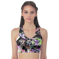 Chaos With Letters Black Multicolored Sports Bra by EDDArt