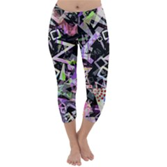 Chaos With Letters Black Multicolored Capri Winter Leggings  by EDDArt