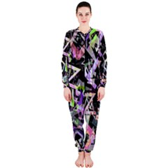 Chaos With Letters Black Multicolored Onepiece Jumpsuit (ladies)  by EDDArt