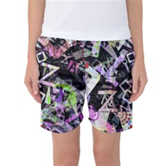 Chaos With Letters Black Multicolored Women s Basketball Shorts by EDDArt