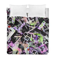 Chaos With Letters Black Multicolored Duvet Cover Double Side (full/ Double Size) by EDDArt
