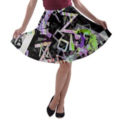 Chaos With Letters Black Multicolored A Line Skater Skirt by EDDArt
