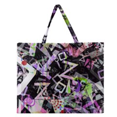 Chaos With Letters Black Multicolored Zipper Large Tote Bag by EDDArt