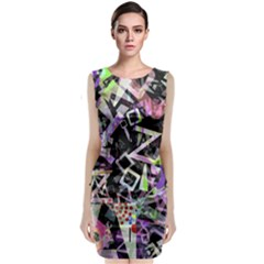 Chaos With Letters Black Multicolored Classic Sleeveless Midi Dress by EDDArt