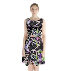 Chaos With Letters Black Multicolored Sleeveless Waist Tie Chiffon Dress by EDDArt