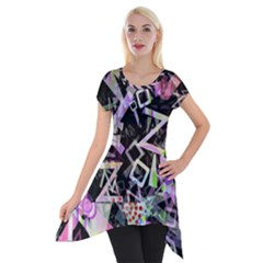 Chaos With Letters Black Multicolored Short Sleeve Side Drop Tunic by EDDArt