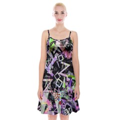 Chaos With Letters Black Multicolored Spaghetti Strap Velvet Dress by EDDArt