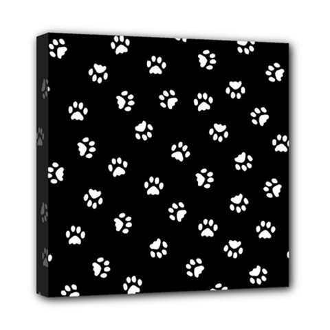 Footprints Cat White Black Mini Canvas 8  X 8  by EDDArt